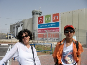 me & divy in front of the entrance to bethlehem