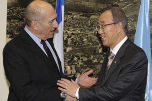 ban ki-moon laughing over the genocide committed by ehud olmert