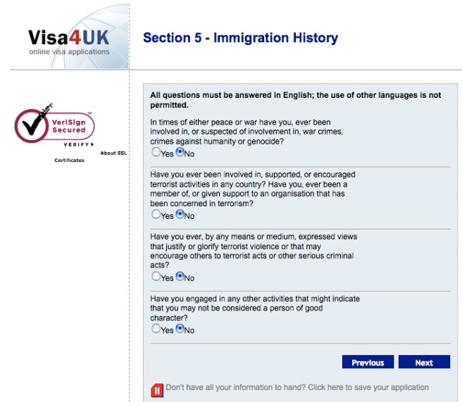 british visa application