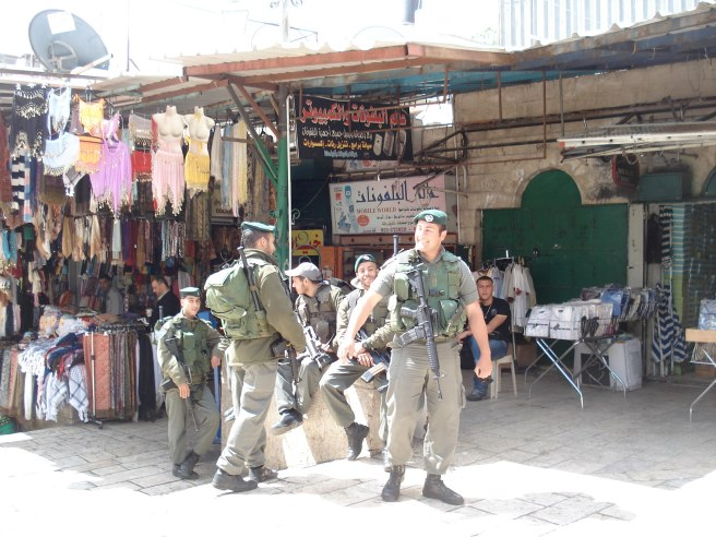 israeli terrorists occupying the old city of al quds