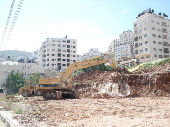 caterpillar bulldozer in the mikfiyya neighborhood of nablus