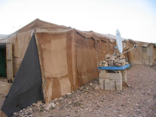 palestinian tent in al ruweished refugee camp, jordan