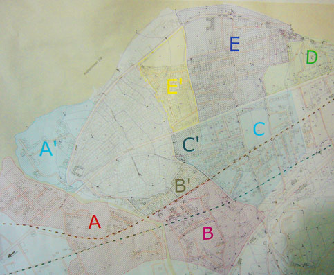 A map of Nahr al-Bared refugee camp with the different areas marked.