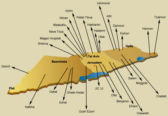 map of zionist colonist terrorist prisons in palestine
