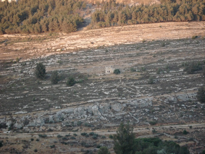 one palestinian house squeezed out by colony of gilo