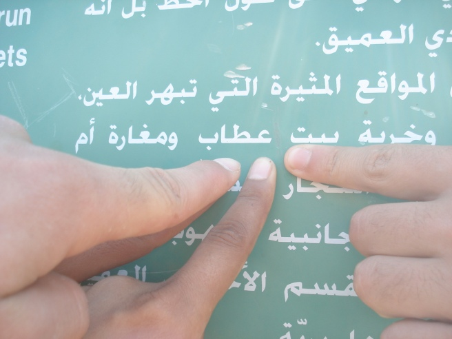 """pointing to """"beit itab ruins"""" in arabic on zionist terrorist colonist sign (but no mention of palestine)"""