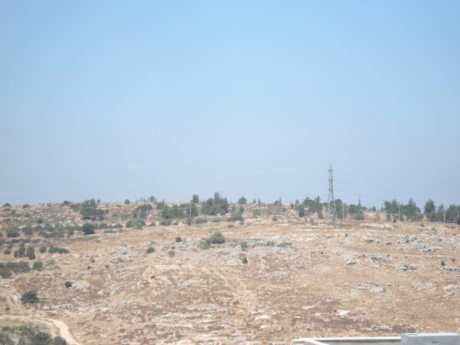 zionist terrorist colonist checkpoint and sniper tower above husan village