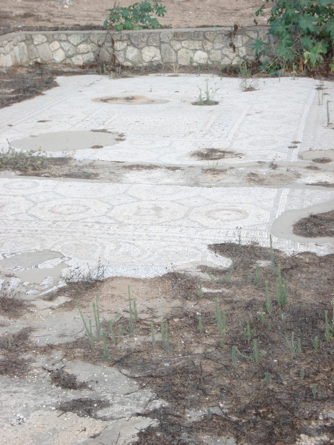 palestinian mosaic floor in occupied al majdal, palestine