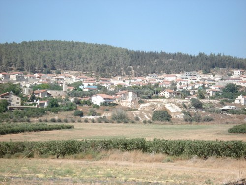 a view of zakariya, palestine with the mosque still in the center of the village