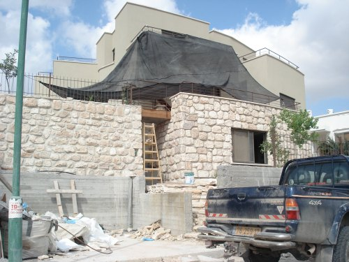 zionist terrorist colonist house using the stones from old palestinian homes in occupied sabbarin