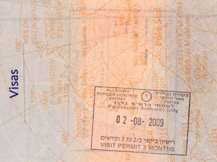 new west bank-only visa stamp from the zionist terrorist colonists